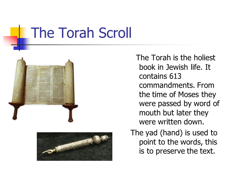 The Torah Scroll The Torah is the holiest book in Jewish life. It contains 613 commandments. From the time of Moses they were passed by word of mouth