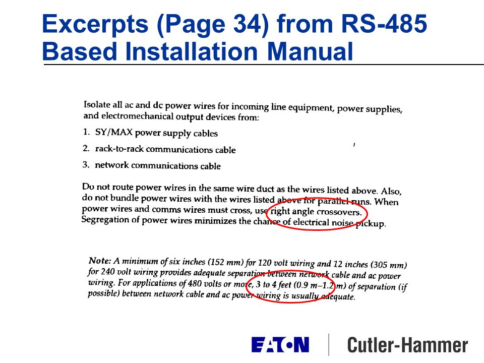 Excerpts (Page 34) from RS-485 Based Installation Manual