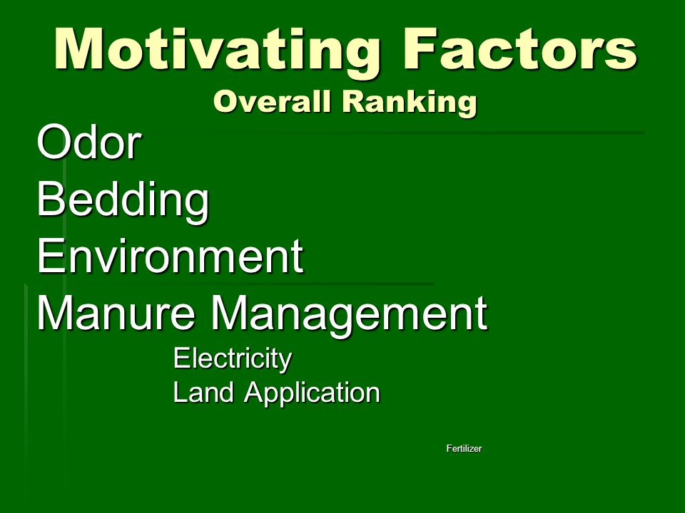 Motivating Factors Overall Ranking OdorBeddingEnvironment Manure Management Electricity Land Application Fertilizer