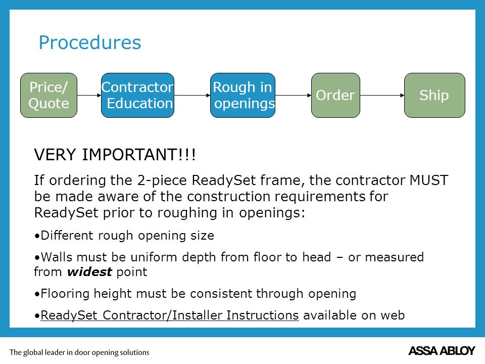 Procedures Price/ Quote Contractor Education Order Rough in openings Ship VERY IMPORTANT!!.