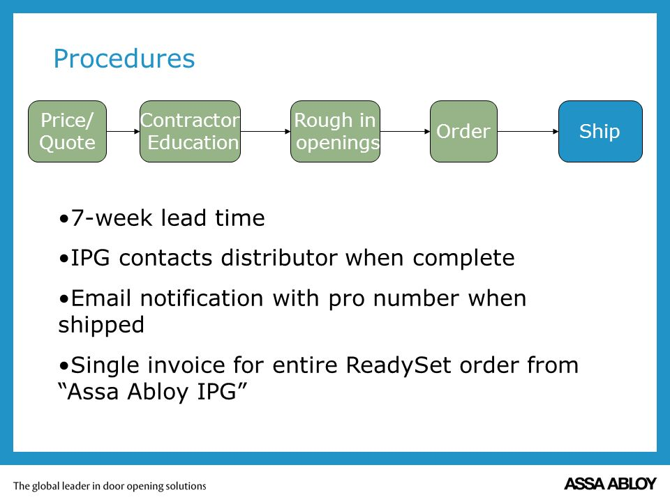 Procedures Price/ Quote Contractor Education Order Rough in openings Ship 7-week lead time IPG contacts distributor when complete Email notification with pro number when shipped Single invoice for entire ReadySet order from Assa Abloy IPG