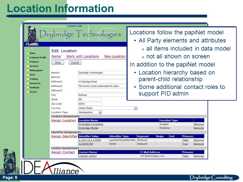 Drybridge Consulting Page: 9 Location Information Locations follow the papiNet model All Party elements and attributes all items included in data model not all shown on screen In addition to the papiNet model Location hierarchy based on parent-child relationship Some additional contact roles to support PID admin Locations follow the papiNet model All Party elements and attributes all items included in data model not all shown on screen In addition to the papiNet model Location hierarchy based on parent-child relationship Some additional contact roles to support PID admin