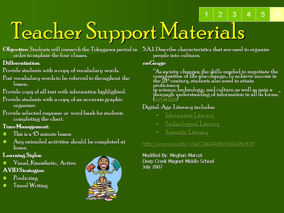 Teacher Support Materials 5.A.1.