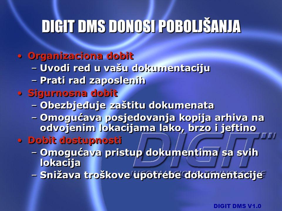 DIGIT DMS V1.0 DIGIT DMS DONOSI POBOLJŠANJA Organizaciona dobit –Uvodi red u vašu dokumentaciju –Prati rad zaposlenih Sigurnosna dobit –Obezbjeđuje za
