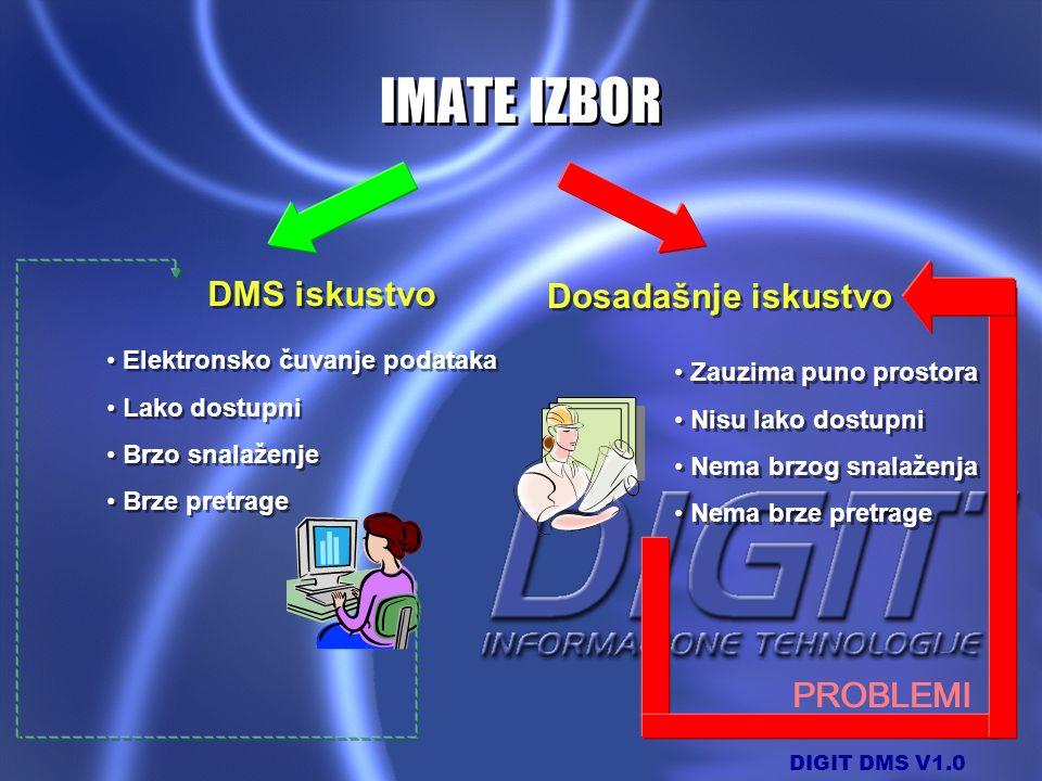 DIGIT DMS V1.0 PROBLEMI Dosadašnje iskustvo Elektronsko čuvanje podataka Lako dostupni Brzo snalaženje Brze pretrage Elektronsko čuvanje podataka Lako