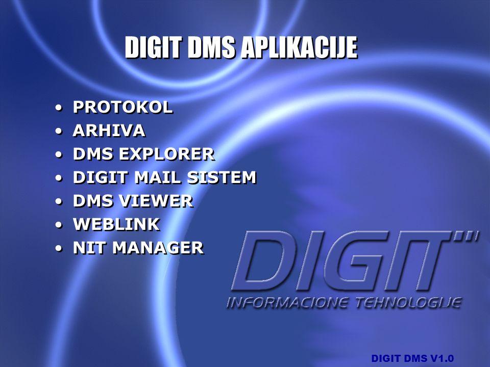 DIGIT DMS V1.0 DIGIT DMS APLIKACIJE PROTOKOL ARHIVA DMS EXPLORER DIGIT MAIL SISTEM DMS VIEWER WEBLINK NIT MANAGER PROTOKOL ARHIVA DMS EXPLORER DIGIT M