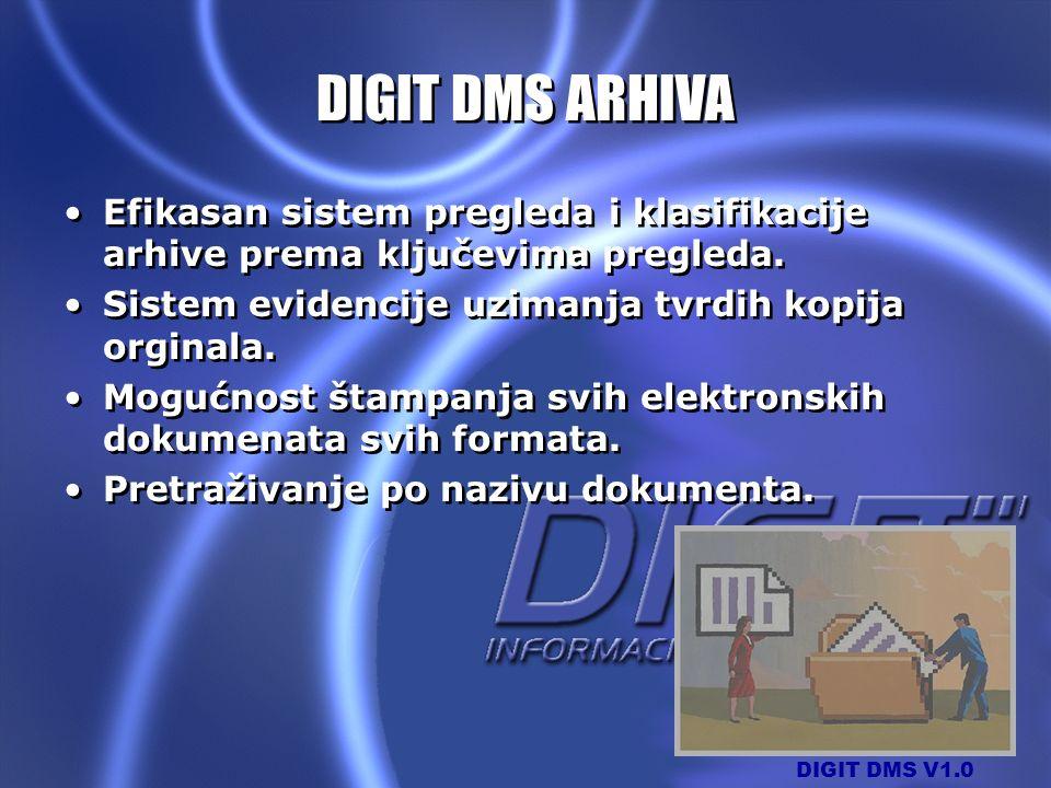 DIGIT DMS V1.0 DIGIT DMS ARHIVA Efikasan sistem pregleda i klasifikacije arhive prema ključevima pregleda. Sistem evidencije uzimanja tvrdih kopija or