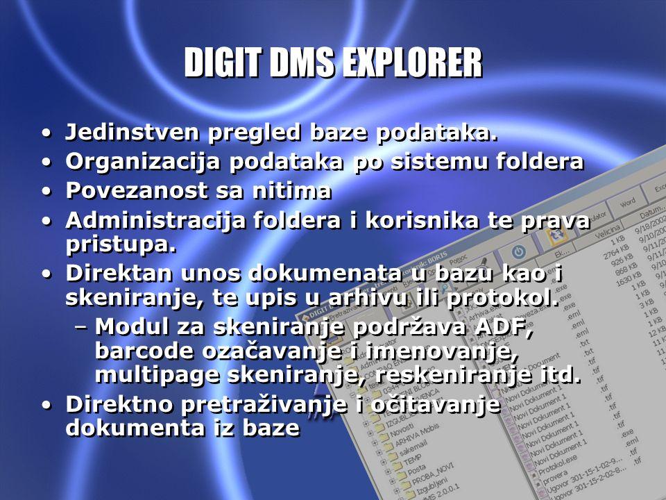 DIGIT DMS V1.0 DIGIT DMS EXPLORER Jedinstven pregled baze podataka. Organizacija podataka po sistemu foldera Povezanost sa nitima Administracija folde