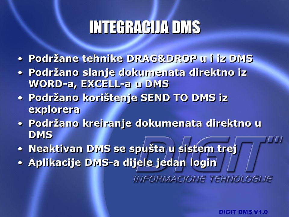 DIGIT DMS V1.0 INTEGRACIJA DMS Podržane tehnike DRAG&DROP u i iz DMS Podržano slanje dokumenata direktno iz WORD-a, EXCELL-a u DMS Podržano korištenje