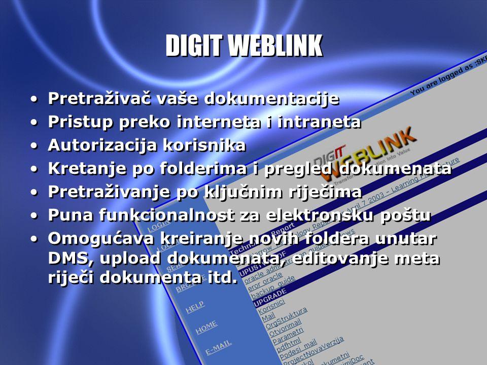 DIGIT DMS V1.0 DIGIT WEBLINK Pretraživač vaše dokumentacije Pristup preko interneta i intraneta Autorizacija korisnika Kretanje po folderima i pregled