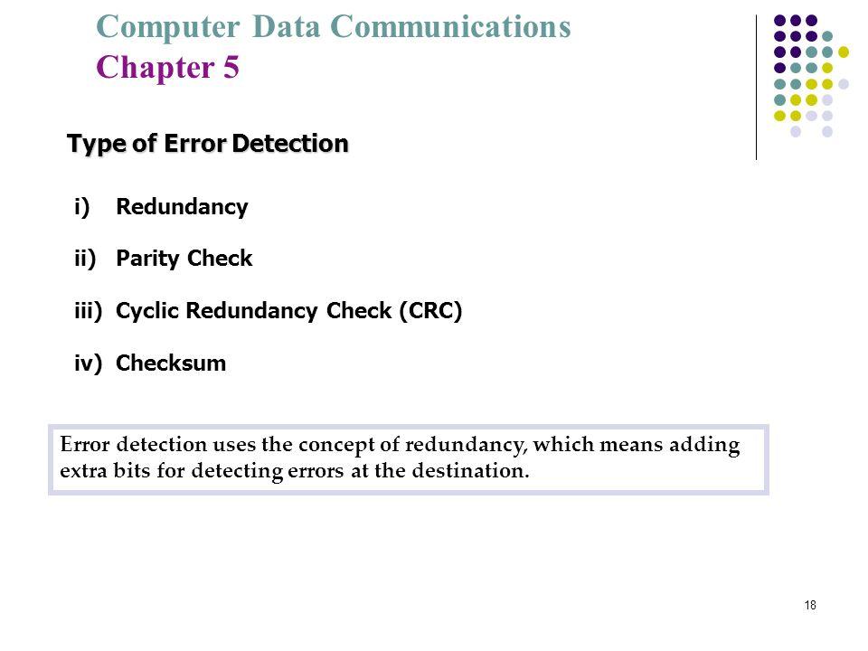 Computer Data Communications Chapter 5 18 Type of Error Detection i) Redundancy ii) Parity Check iii) Cyclic Redundancy Check (CRC) iv) Checksum Error