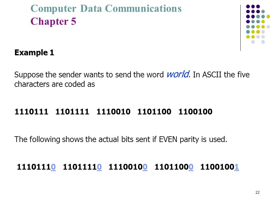 Computer Data Communications Chapter 5 22 Example 1 Suppose the sender wants to send the word world. In ASCII the five characters are coded as 1110111