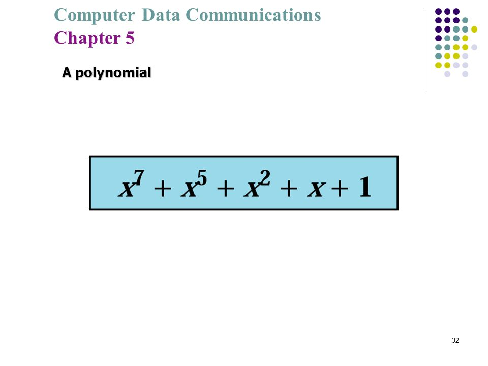 Computer Data Communications Chapter 5 32 A polynomial