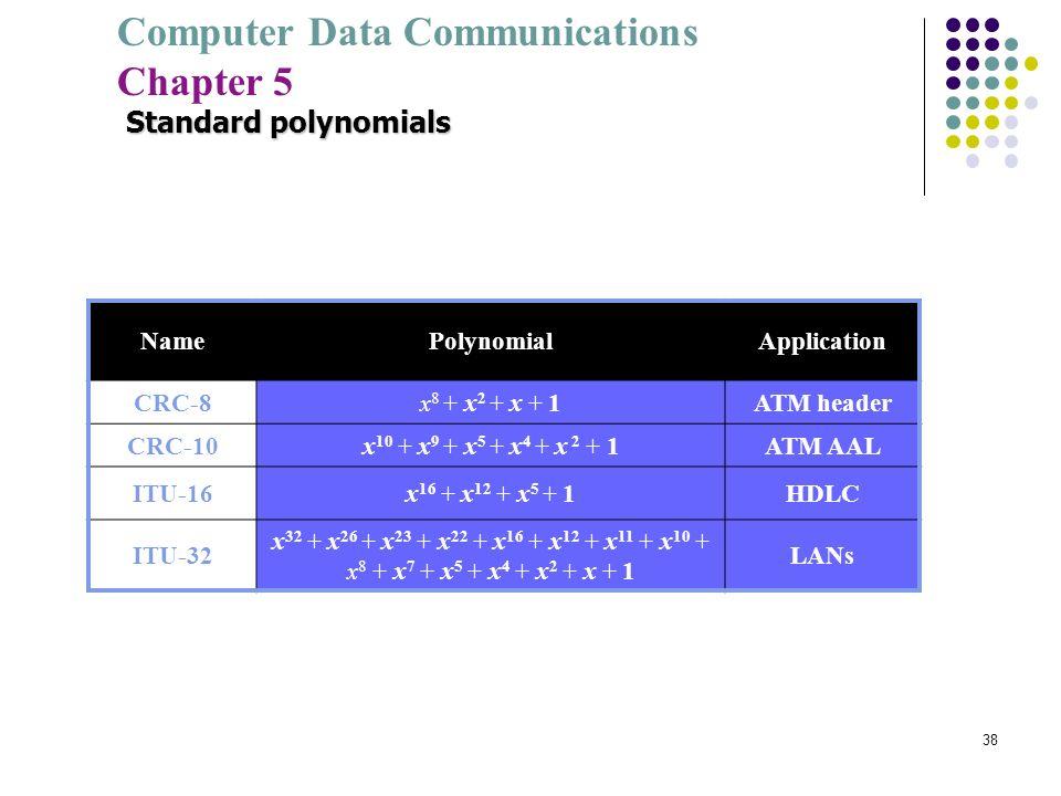 Computer Data Communications Chapter 5 38 Standard polynomials NamePolynomialApplication CRC-8x 8 + x 2 + x + 1ATM header CRC-10x 10 + x 9 + x 5 + x 4