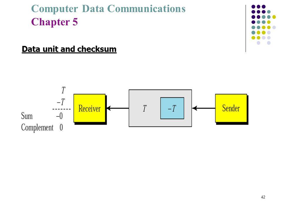 Computer Data Communications Chapter 5 42 Data unit and checksum