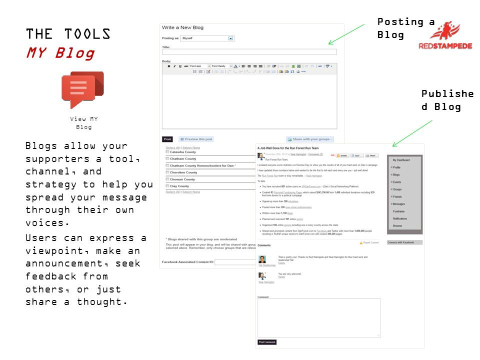 THE TOOLS MY Blog Posting a Blog Publishe d Blog View MY Blog Users can express a viewpoint, make an announcement, seek feedback from others, or just share a thought.