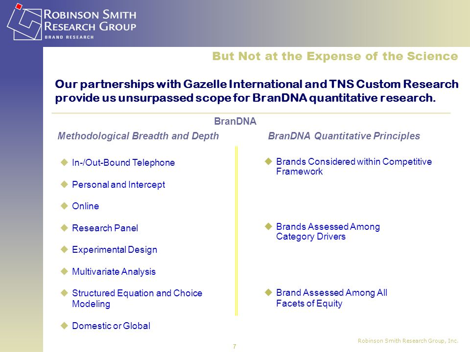 Robinson Smith Research Group, Inc. 7 Our partnerships with Gazelle International and TNS Custom Research provide us unsurpassed scope for BranDNA qua