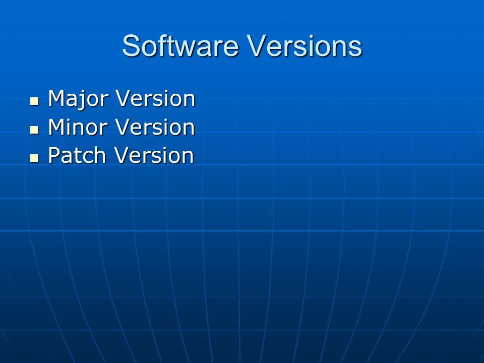 Software Versions Major Version Major Version Minor Version Minor Version Patch Version Patch Version