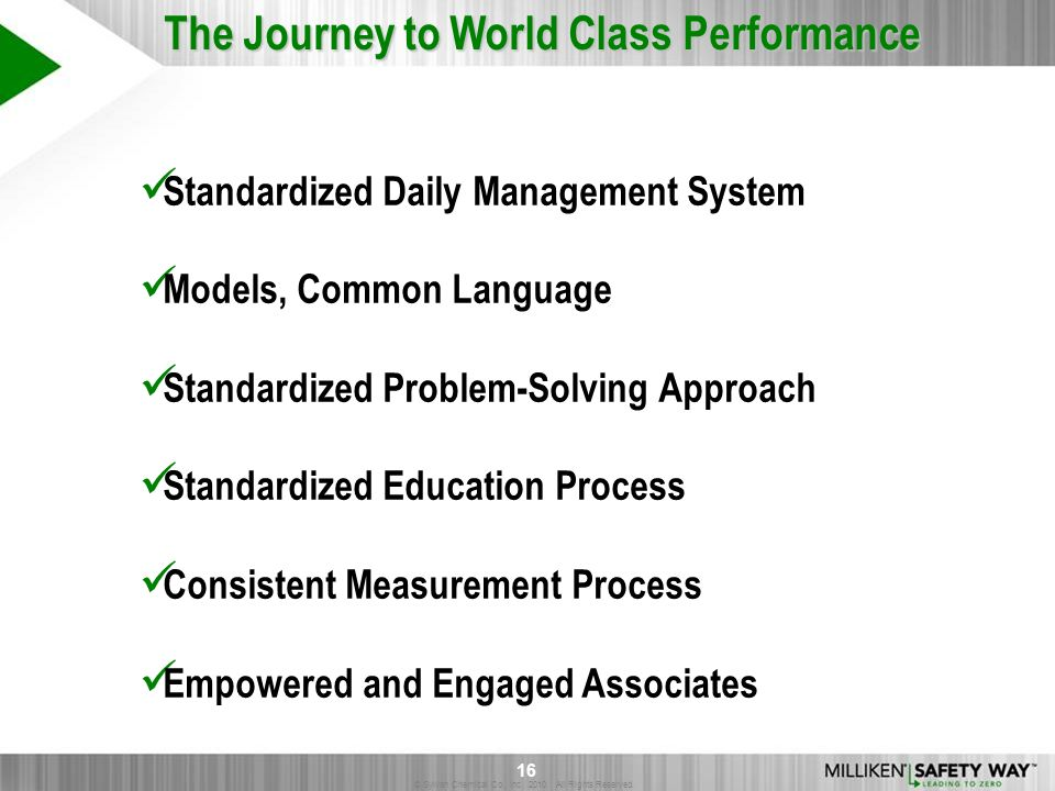 © Sylvan Chemical Co., Inc. 2010. All Rights Reserved. 16 Standardized Daily Management System Models, Common Language Standardized Problem-Solving Ap