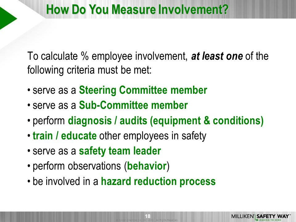 © Sylvan Chemical Co., Inc. 2010. All Rights Reserved. 18 To calculate % employee involvement, at least one of the following criteria must be met: ser