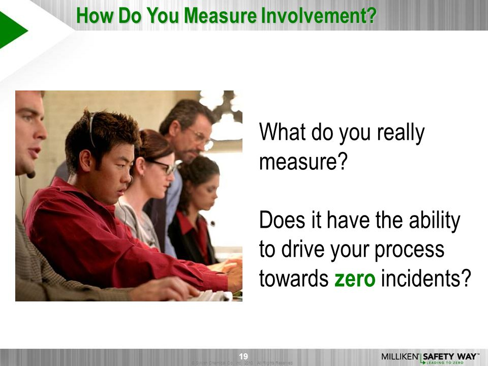 © Sylvan Chemical Co., Inc. 2010. All Rights Reserved. 19 What do you really measure? Does it have the ability to drive your process towards zero inci