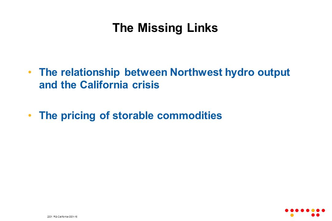 2001 RS-California-0301-16 The Missing Links The relationship between Northwest hydro output and the California crisis The pricing of storable commodi