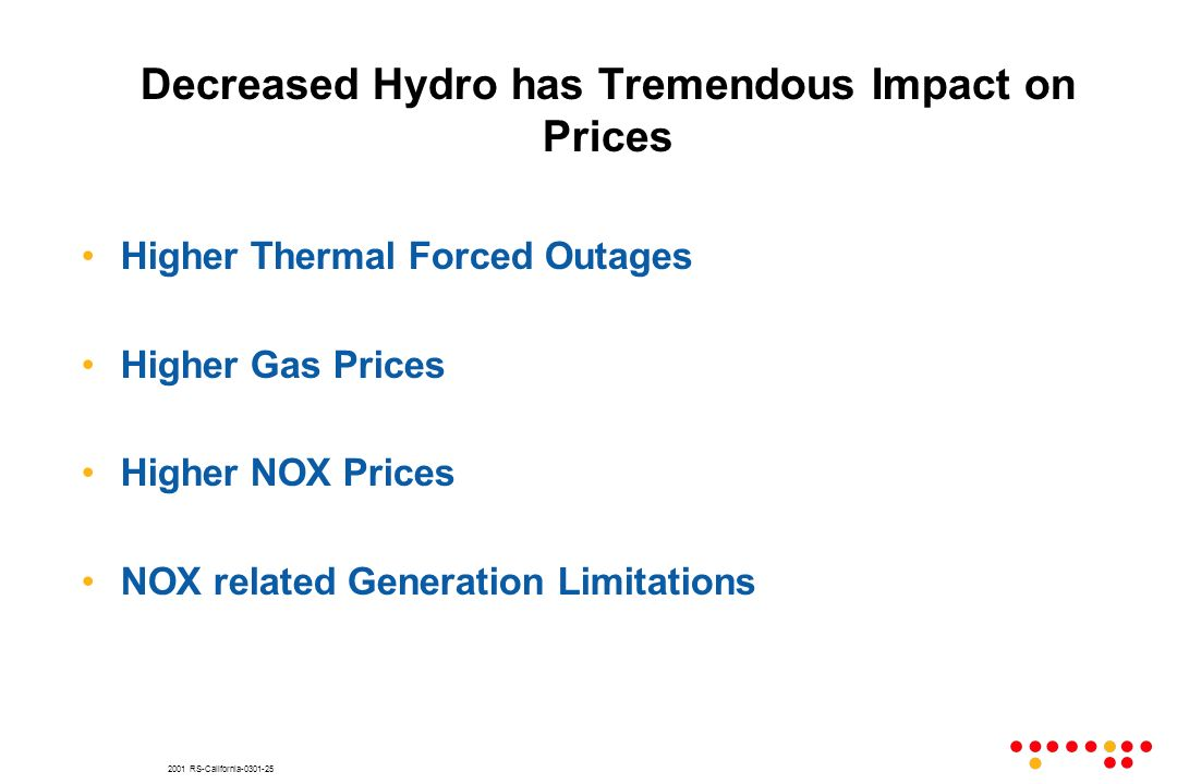 2001 RS-California-0301-25 Decreased Hydro has Tremendous Impact on Prices Higher Thermal Forced Outages Higher Gas Prices Higher NOX Prices NOX related Generation Limitations