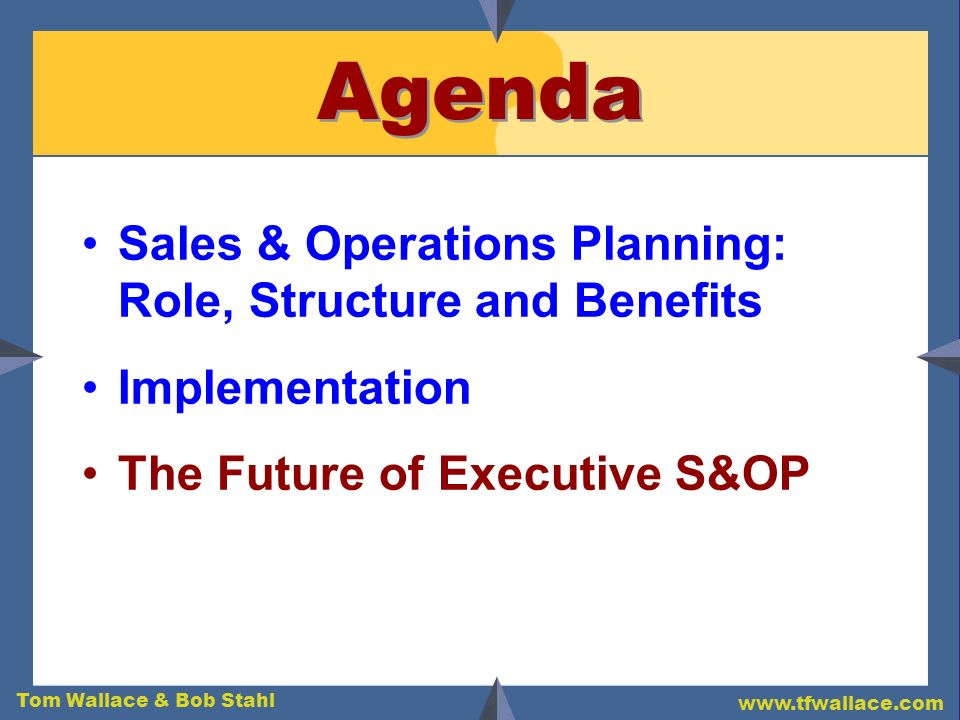 Tom Wallace & Bob Stahl www.tfwallace.com Agenda Sales & Operations Planning: Role, Structure and Benefits Implementation The Future of Executive S&OP