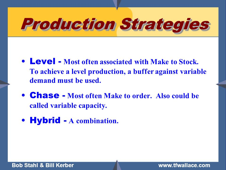 Bob Stahl & Bill Kerber www.tfwallace.com Production Strategies Level - Most often associated with Make to Stock. To achieve a level production, a buf