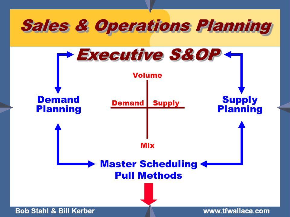 Bob Stahl & Bill Kerber www.tfwallace.com Sales & Operations Planning DemandSupply Volume Mix Executive S&OP Demand Planning Supply Planning Master Sc