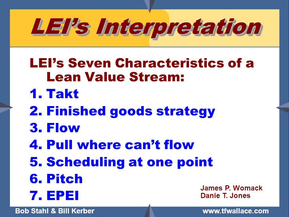 Bob Stahl & Bill Kerber www.tfwallace.com LEIs Interpretation LEIs Seven Characteristics of a Lean Value Stream: 1.Takt 2.Finished goods strategy 3.Fl