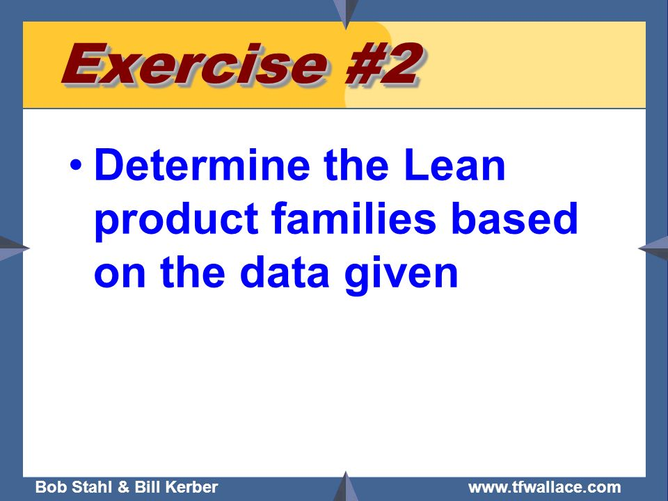 Bob Stahl & Bill Kerber www.tfwallace.com Exercise #2 Determine the Lean product families based on the data given