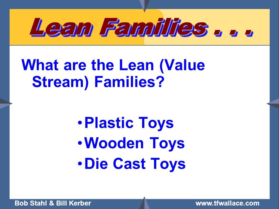 Bob Stahl & Bill Kerber www.tfwallace.com Lean Families... What are the Lean (Value Stream) Families? Plastic Toys Wooden Toys Die Cast Toys