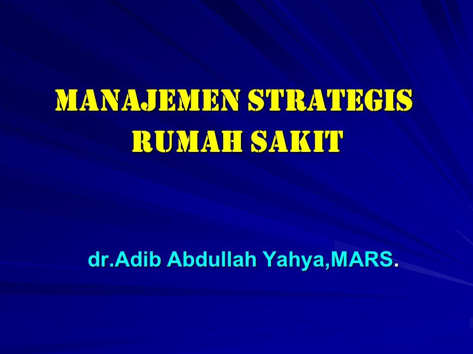 MANAJEMEN STRATEGIS MANAJEMEN STRATEGIS RUMAH SAKIT RUMAH SAKIT dr.Adib Abdullah Yahya,MARS. dr.Adib Abdullah Yahya,MARS.