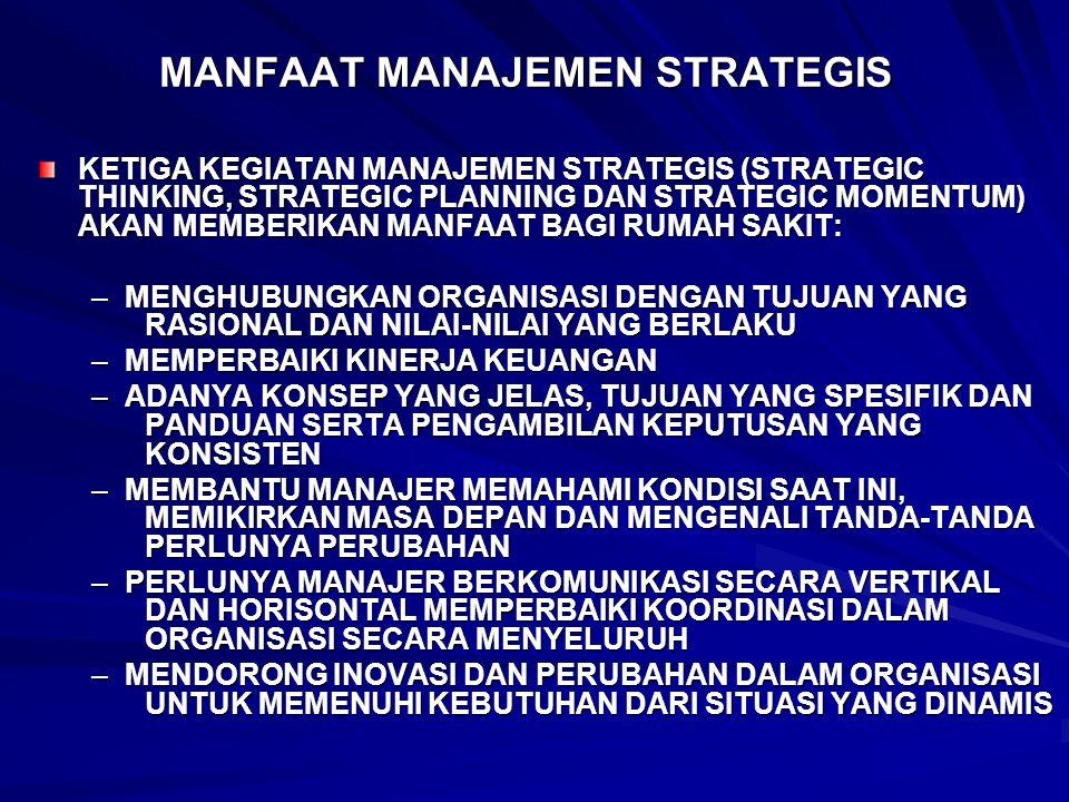 MANFAAT MANAJEMEN STRATEGIS KETIGA KEGIATAN MANAJEMEN STRATEGIS (STRATEGIC THINKING, STRATEGIC PLANNING DAN STRATEGIC MOMENTUM) AKAN MEMBERIKAN MANFAA