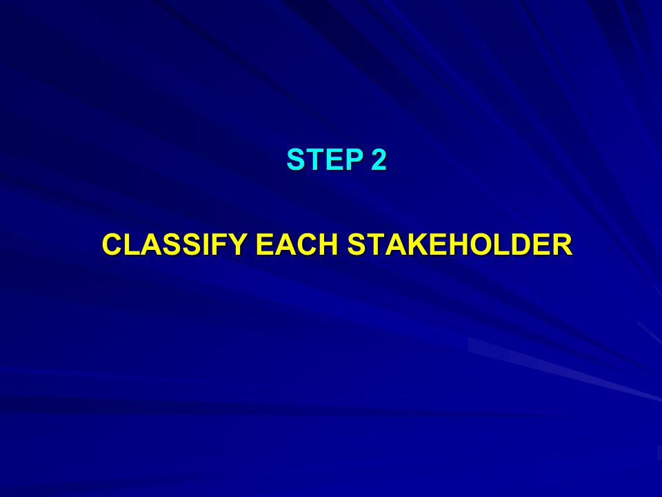 STEP 2 CLASSIFY EACH STAKEHOLDER