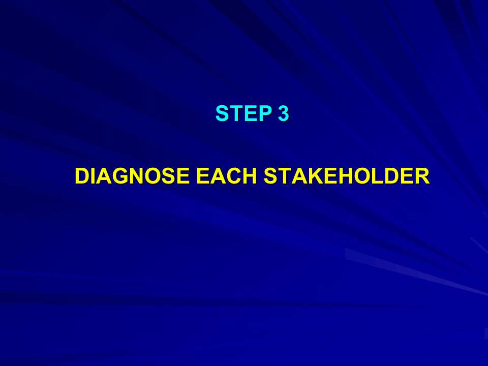 STEP 3 DIAGNOSE EACH STAKEHOLDER