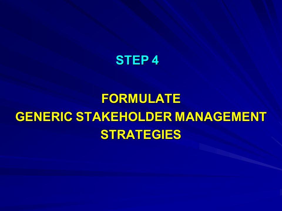STEP 4 FORMULATE GENERIC STAKEHOLDER MANAGEMENT STRATEGIES