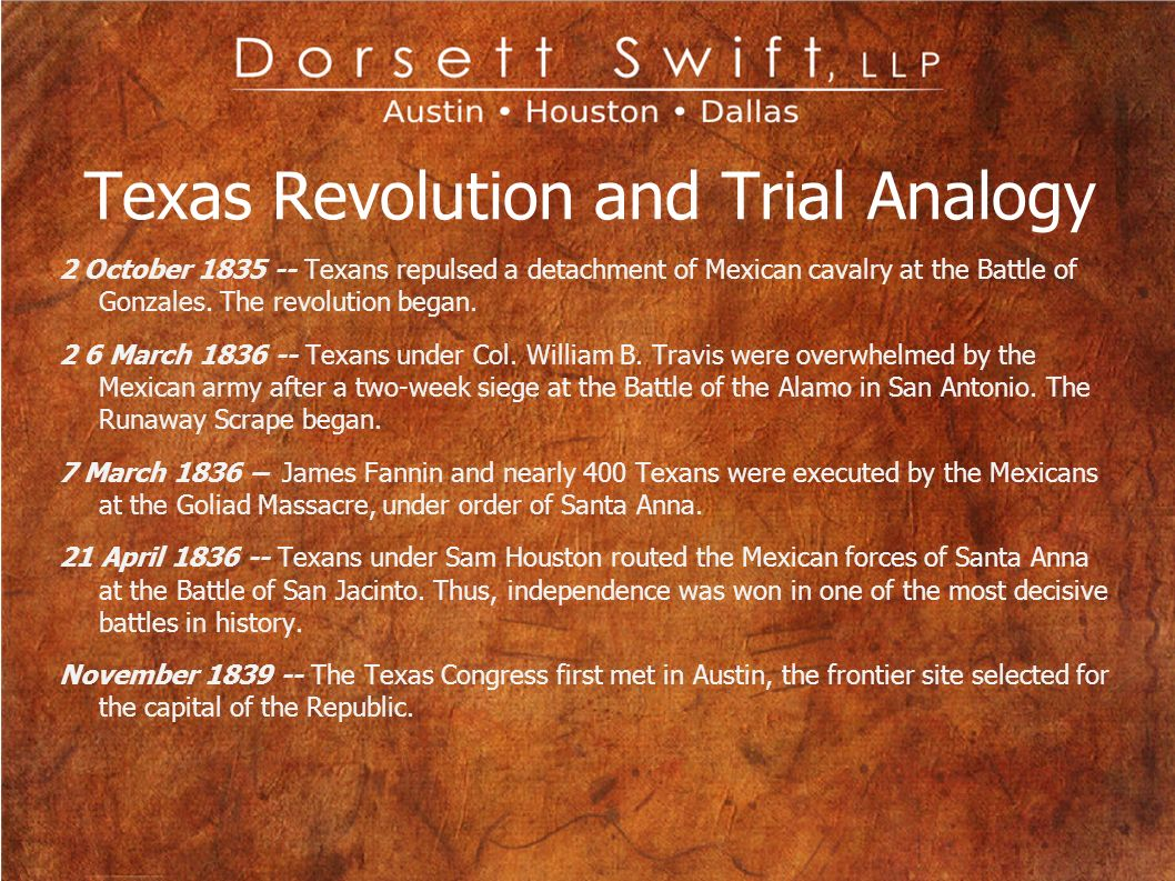 Texas Revolution and Trial Analogy 2 October 1835 -- Texans repulsed a detachment of Mexican cavalry at the Battle of Gonzales. The revolution began.