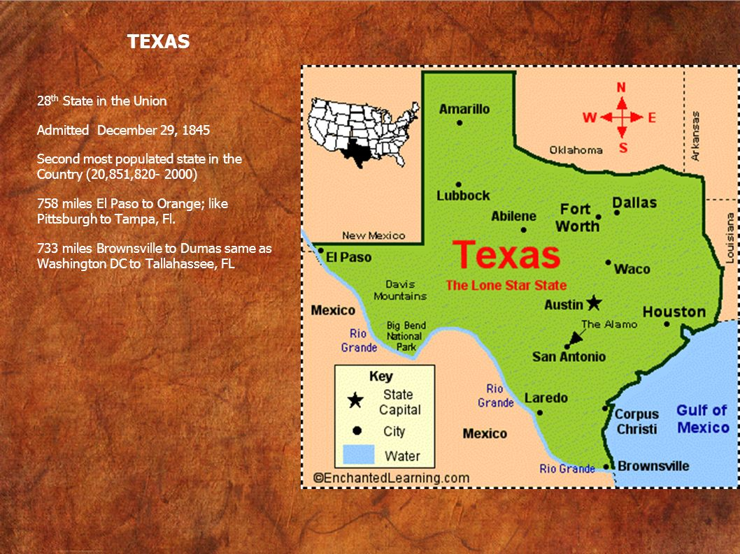 TEXAS 28 th State in the Union Admitted December 29, 1845 Second most populated state in the Country (20,851,820- 2000) 758 miles El Paso to Orange; l