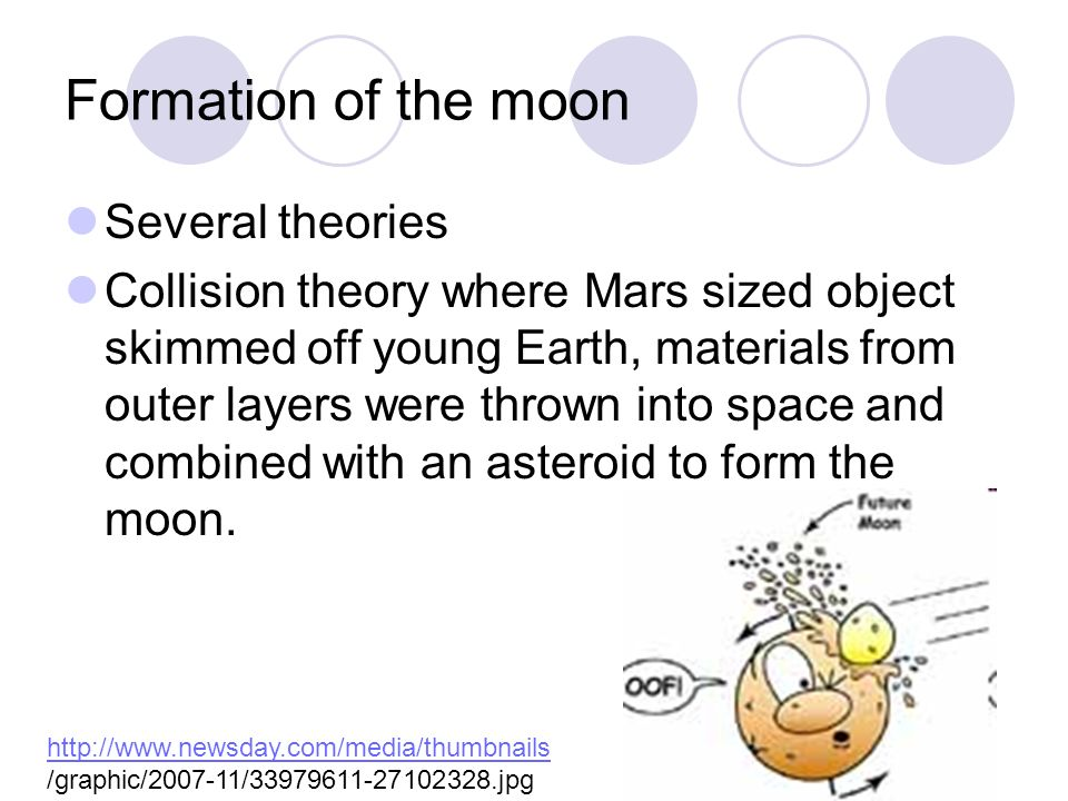 Formation of the moon Several theories Collision theory where Mars sized object skimmed off young Earth, materials from outer layers were thrown into