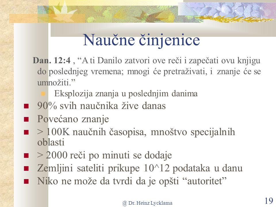 @ Dr. Heinz Lycklama 19 Naučne činjenice Dan.