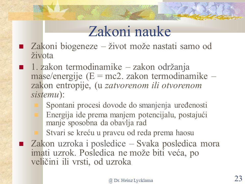 @ Dr. Heinz Lycklama 23 Zakoni nauke Zakoni biogeneze – život može nastati samo od života 1.
