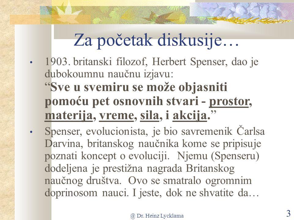 @ Dr. Heinz Lycklama 3 Za početak diskusije… 1903.