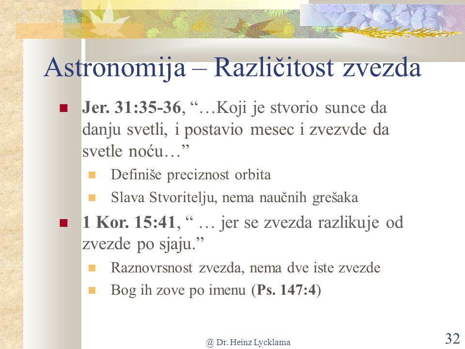 @ Dr. Heinz Lycklama 32 Astronomija – Različitost zvezda Jer.