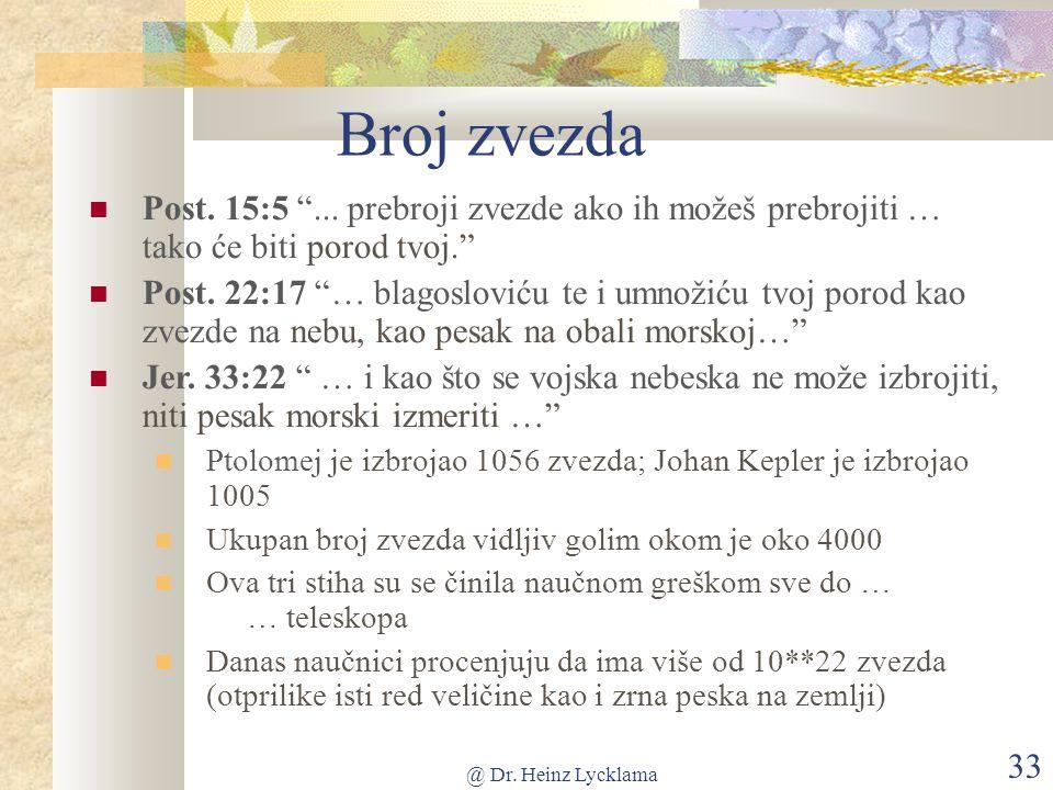 @ Dr. Heinz Lycklama 33 Broj zvezda Post. 15:5...