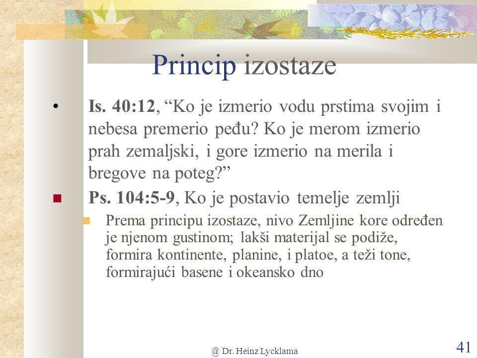 @ Dr. Heinz Lycklama 41 Princip izostaze Is.