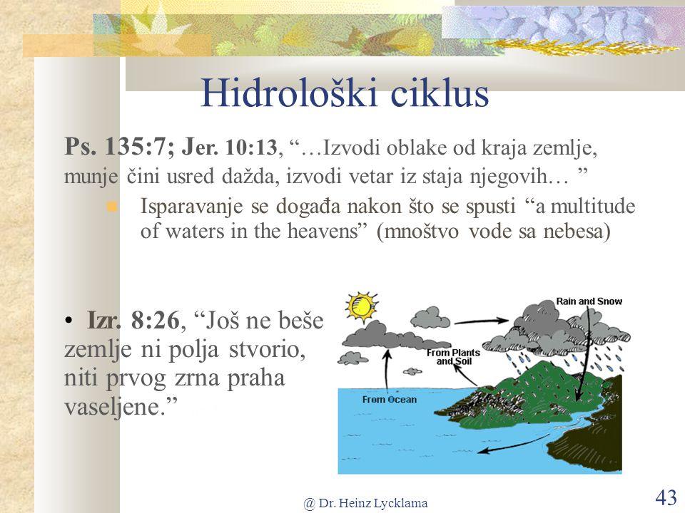 @ Dr. Heinz Lycklama 43 Hidrološki ciklus Ps. 135:7; J er.