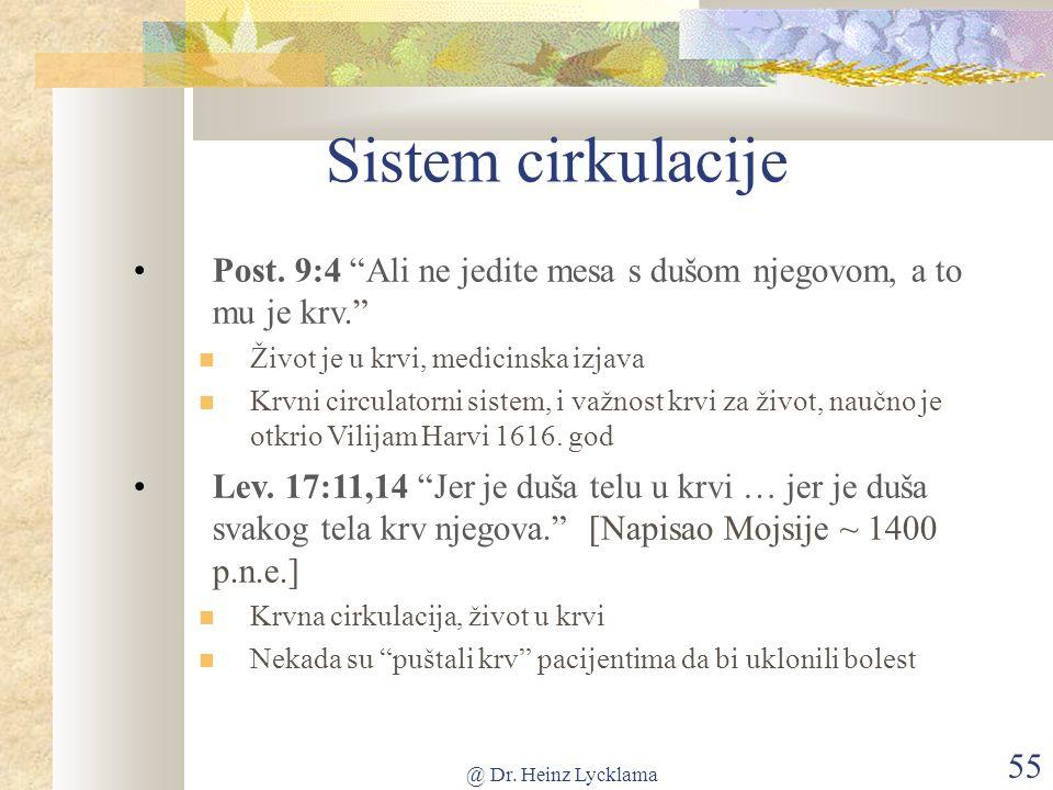 @ Dr. Heinz Lycklama 55 Sistem cirkulacije Post.