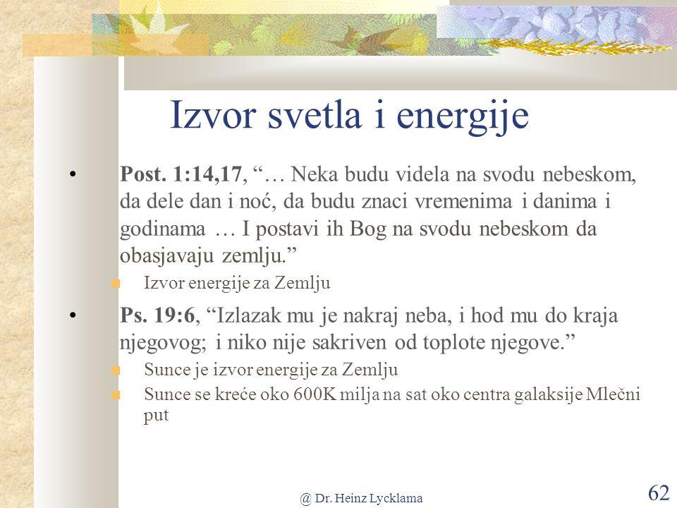 @ Dr. Heinz Lycklama 62 Izvor svetla i energije Post.